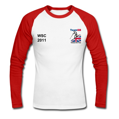 World Champs 2011 GBR Long Sleeved Red/White - Men's Long Sleeve Baseball T-Shirt