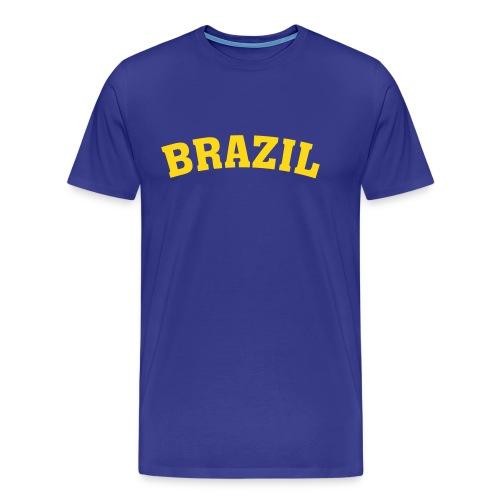 M-STCO, Brazil, gelb auf blau - Männer Premium T-Shirt
