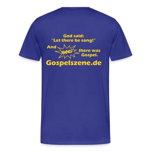 Vorne dein Wunschtext, hinten Gospelszene.de - Männer Premium T-Shirt