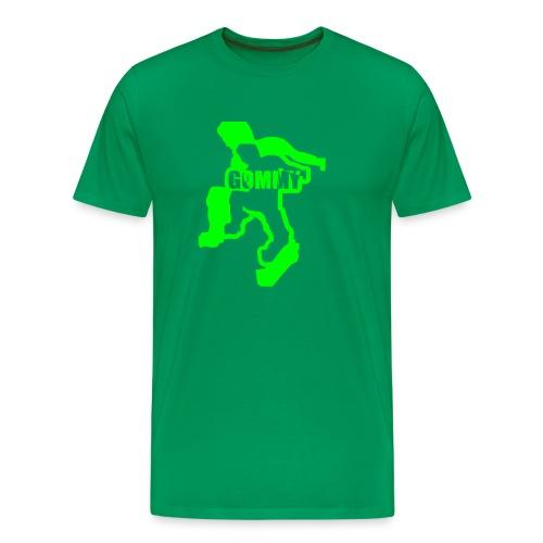 Bottle Green Comfort T with bright green logo - Men's Premium T-Shirt