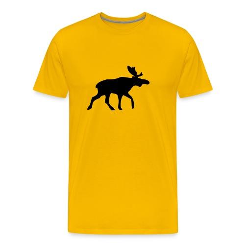 HIRVI keltainen/musta - Miesten premium t-paita