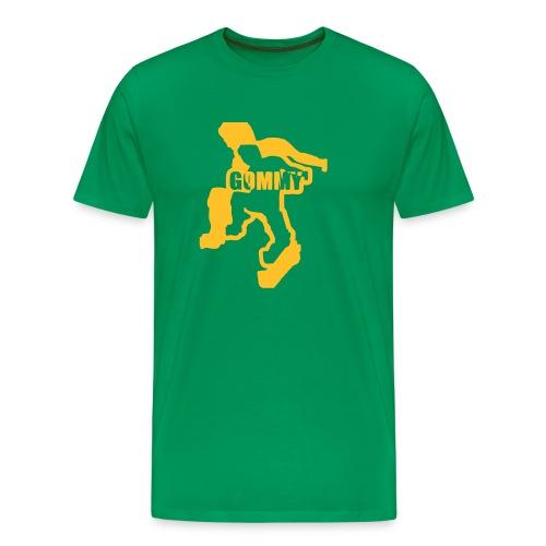 Bottle Green Comfort T with yellow-gold logo - Men's Premium T-Shirt