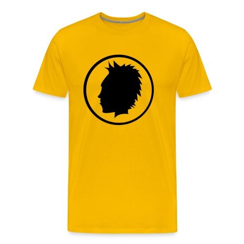 Premium-T-shirt herr - En snygg gul tröja med ett fint tryck.
