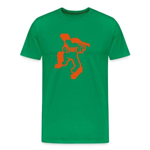 Bottle Green Comfort T with Orange - Men's Premium T-Shirt