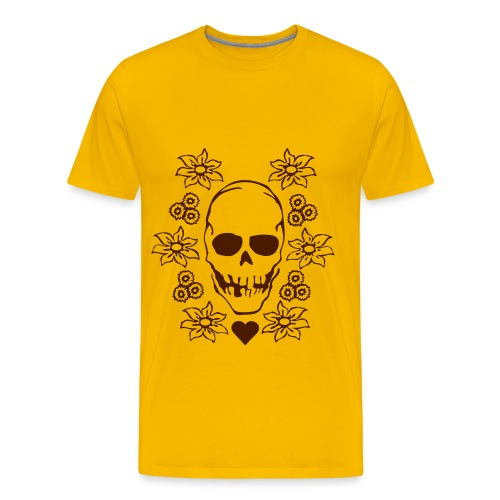 Skull with Flowers - Männer Premium T-Shirt