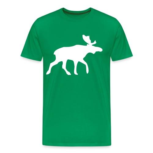 Green Tshirt, White Elk - Men's Premium T-Shirt