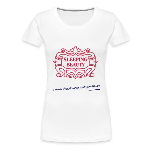 Rött&svart tryck på vit Continental Clothing t-shirt (tjej modell) - Premium-T-shirt dam