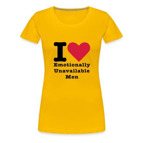 i love emotionally unafaible man geel Rocket in my Pocket (girls) - Vrouwen Premium T-shirt