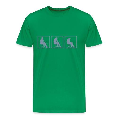 T-shirt Premium Homme - batteur argent mat torse, ange argent mat épaule