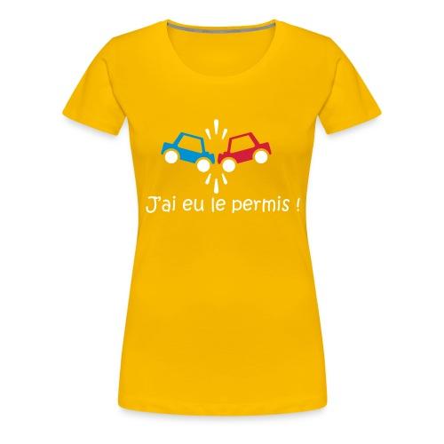 J'ai eu le permis 2 - Femme - Jaune - T-shirt Premium Femme