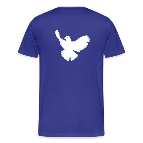 Männer Premium T-Shirt - Vorne Motive Friedenstaube Peace Schriftzug individuell mit Tieren oder Tiernamen o. ä... gestaltbar!
