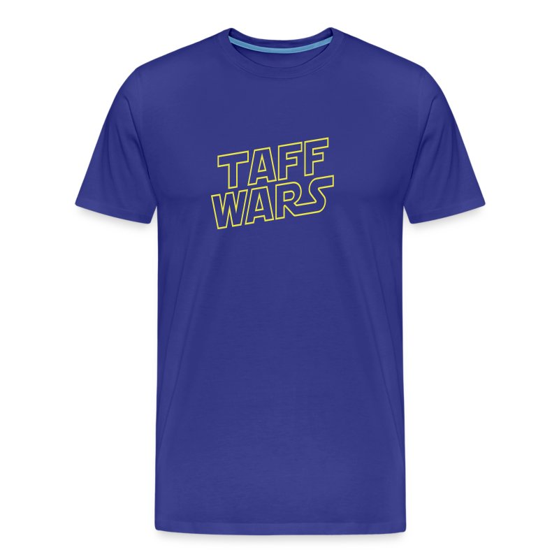 Taff Wars BLUE comfort t-shirt with text on back - Men's Premium T-Shirt