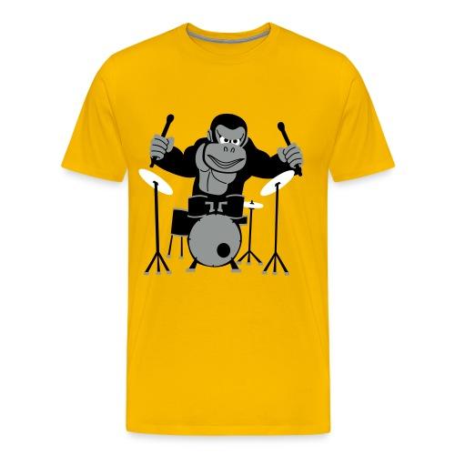 Drumming Gorilla (Yellow) - Men's Premium T-Shirt