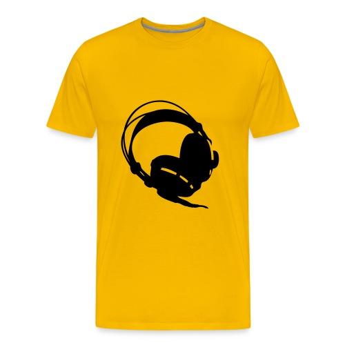 Koptelefoon geel - Mannen Premium T-shirt