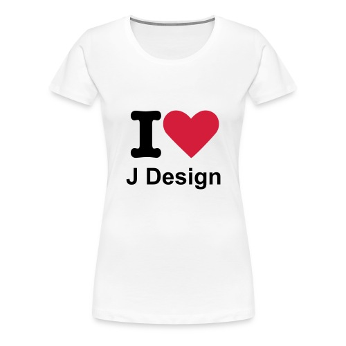 I Love J Design - Womens White Tee Shirt - Women's Premium T-Shirt