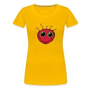 Ladies Red Smiley Face T-shirt - Women's Premium T-Shirt