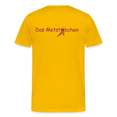 Schriftzug hinten, Name vorn - Männer Premium T-Shirt