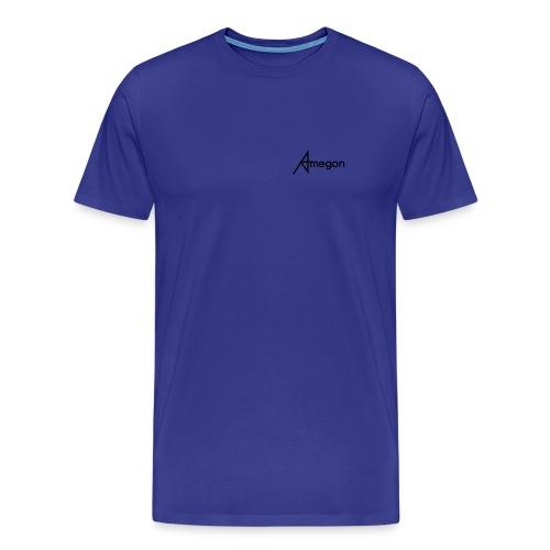 Männer Premium T-Shirt - Vorne: Amegon Logo klein;  Hinten: Amegon Logo groß und Ihr Eigener Name