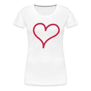 sydänpaita (valkoinen) - Naisten premium t-paita