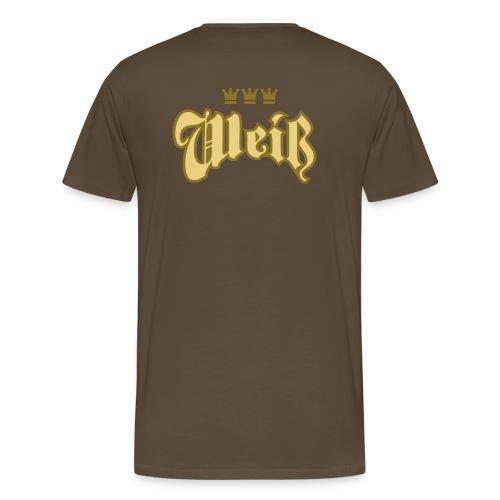 Weiss (Frakturschrift) - Männer Premium T-Shirt