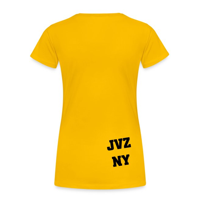 Ladies Shirt Yellow with Colored Print