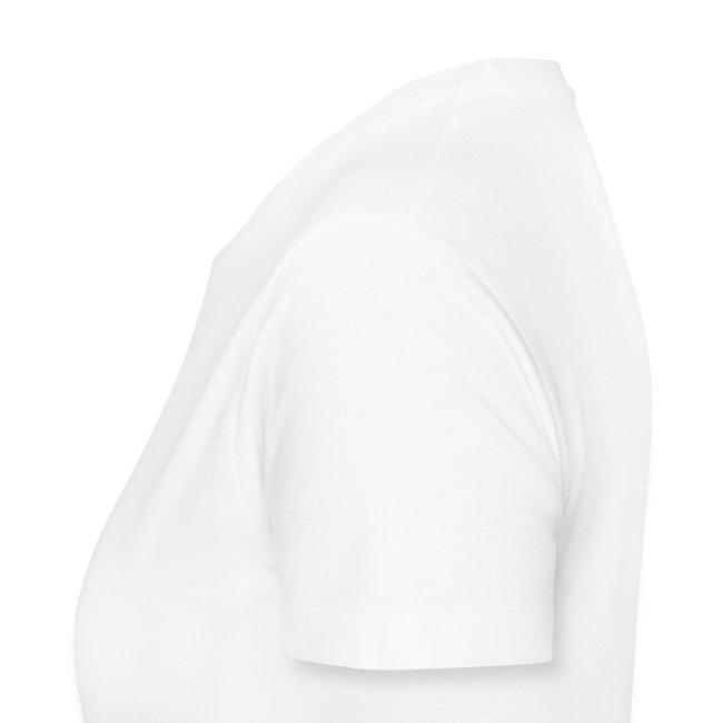 Girly-T V-Neck Weiß Logo vorne, klein