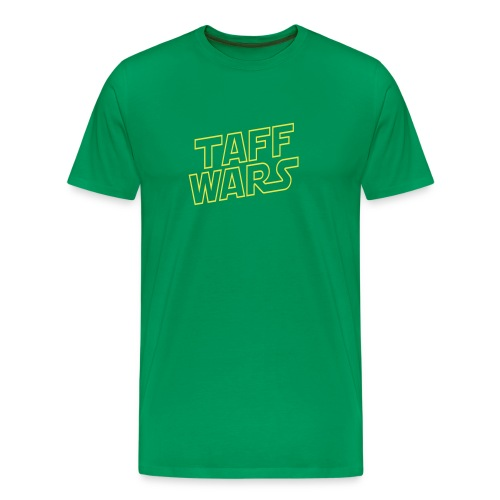 Taff Wars GREEN comfort t-shirt with text on back - Men's Premium T-Shirt