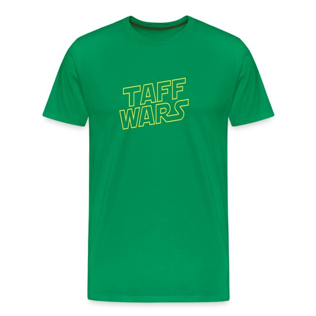 Taff Wars GREEN comfort t-shirt with text on back