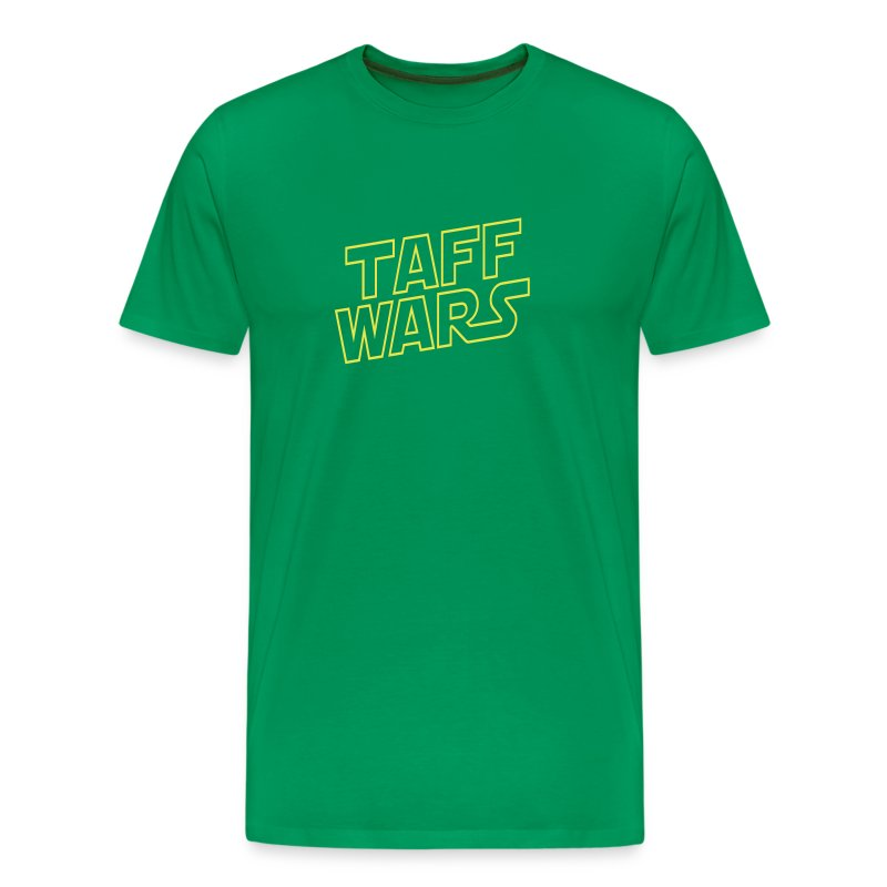 Taff Wars GREEN comfort t-shirt with text on back - Men's Premium T-Shirt
