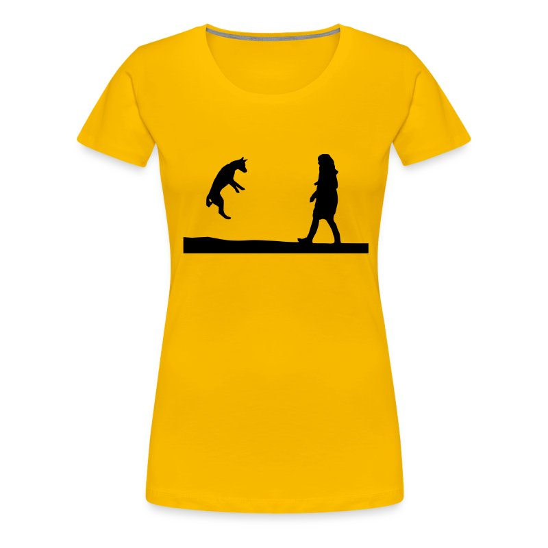 Womens Tee with Dog and Girl Playing Print - Women's Premium T-Shirt