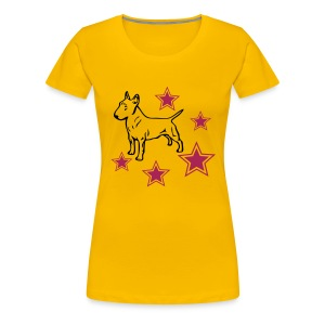 Womens Tee with Bull Terrier and stars Print - Women's Premium T-Shirt