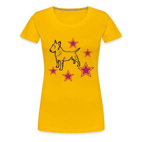 Womens Tee with Bull Terrier and stars Print - Women's Premium T-Shirt