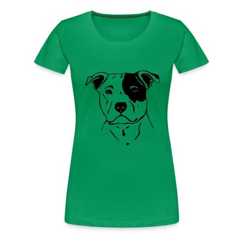 Womens Tee with Staffy head Print - Women's Premium T-Shirt