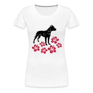 Womens Tee with American Pitbull and Flowers Print - Women's Premium T-Shirt