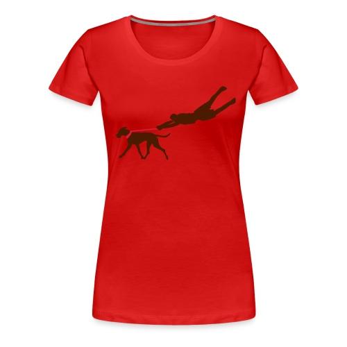 Fungirlie rot mit Rückenlogo - Frauen Premium T-Shirt