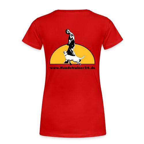 T-Shirt Damen tailiert rot Rückenlogo  - Frauen Premium T-Shirt