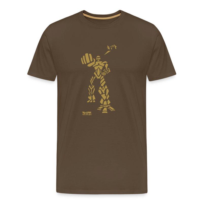 Robot - M T, Brown & Gold Glitter - Men's Premium T-Shirt