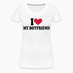 Wit I love my boyfriend T-shirts (korte mouw)