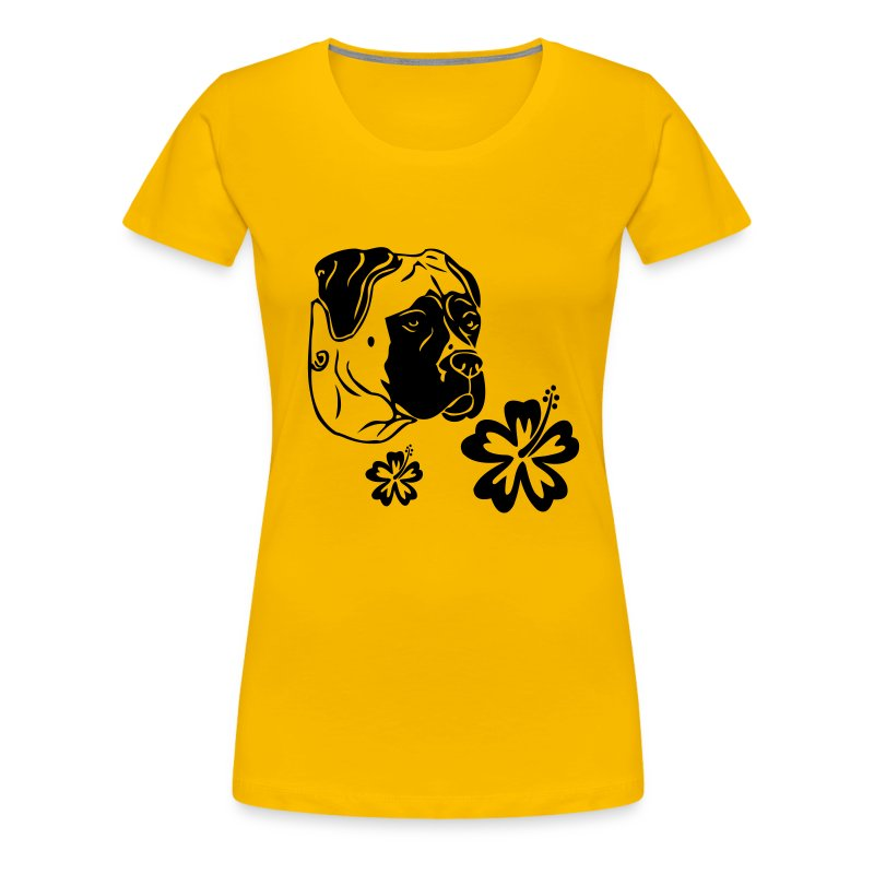 Womens Tee with Boerboel and flowers Print - Women's Premium T-Shirt