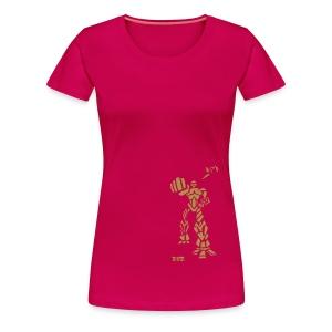 Robot - W T, Pink & Gold Sparkle - Women's Premium T-Shirt