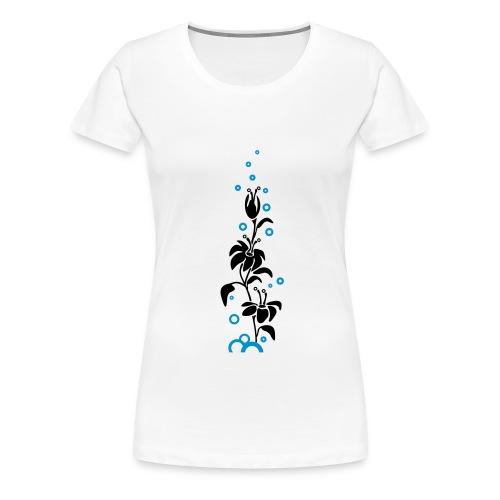 hvit øko med blomst - Premium T-skjorte for kvinner