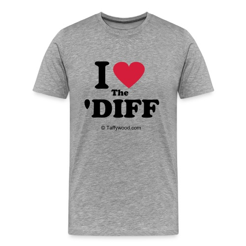 I Love The Diff (Red Heart) | Men's Classic (Ash Grey) - Men's Premium T-Shirt