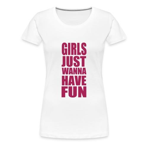Magenta opdruk (diverse kleuren shirt) - Vrouwen Premium T-shirt