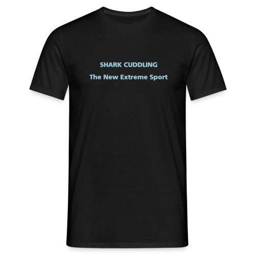 MENS SIMPLE: Shark cuddling - Men's T-Shirt