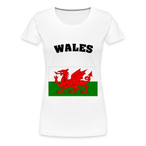 white tee wales flag with wales black print - Women's Premium T-Shirt