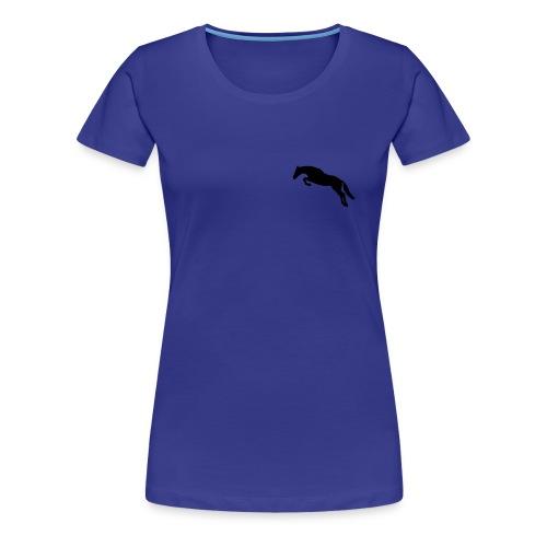 Womens Jumping Horse Aqua TShirt - Women's Premium T-Shirt