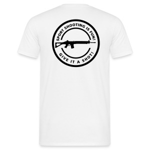 Schietsport is Fun Sig (flex print achter) - Mannen T-shirt