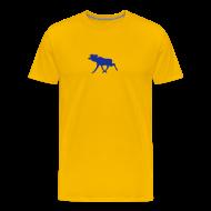 T-Shirts ~ Männer Premium T-Shirt ~ Elchshirt Comfort, gelb-dunkelblau mit schwedischem Elch