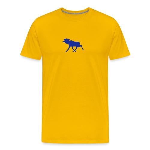 Elchshirt Comfort, gelb-dunkelblau mit schwedischem Elch - Männer Premium T-Shirt