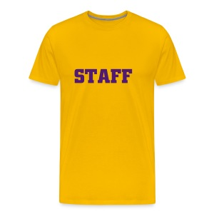 Mens ' Staff ' Tee v2 Yellow / Purple Flex Print - Men's Premium T-Shirt